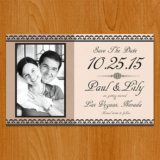 Classic Cream save the date front view