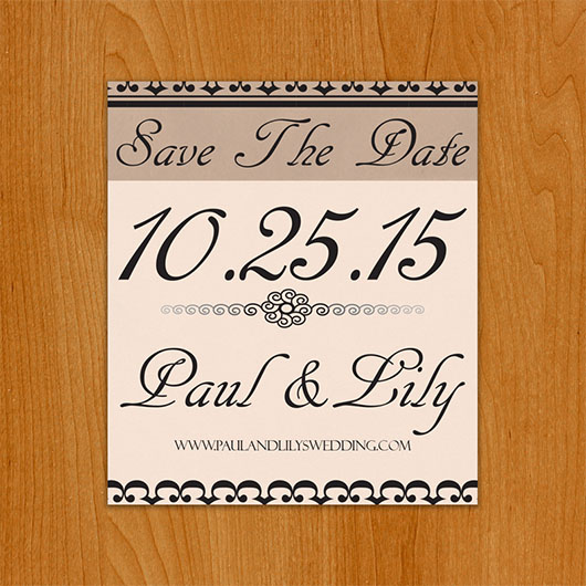 Classic Cream save the date magnet