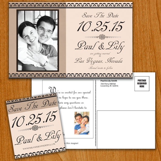 Classic Cream save the date overview