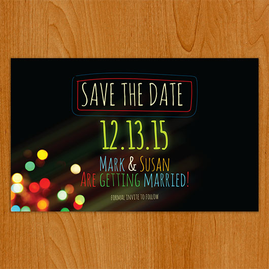 Light Up save the date front view