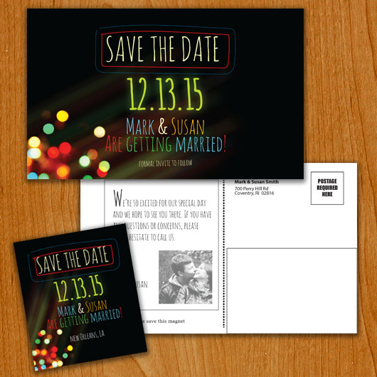 Light Up save the date overview